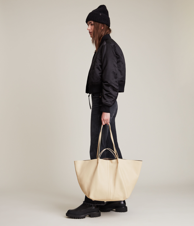 AllSaints Women's Nadaline Leather East West Tote Bag, Parchment White
