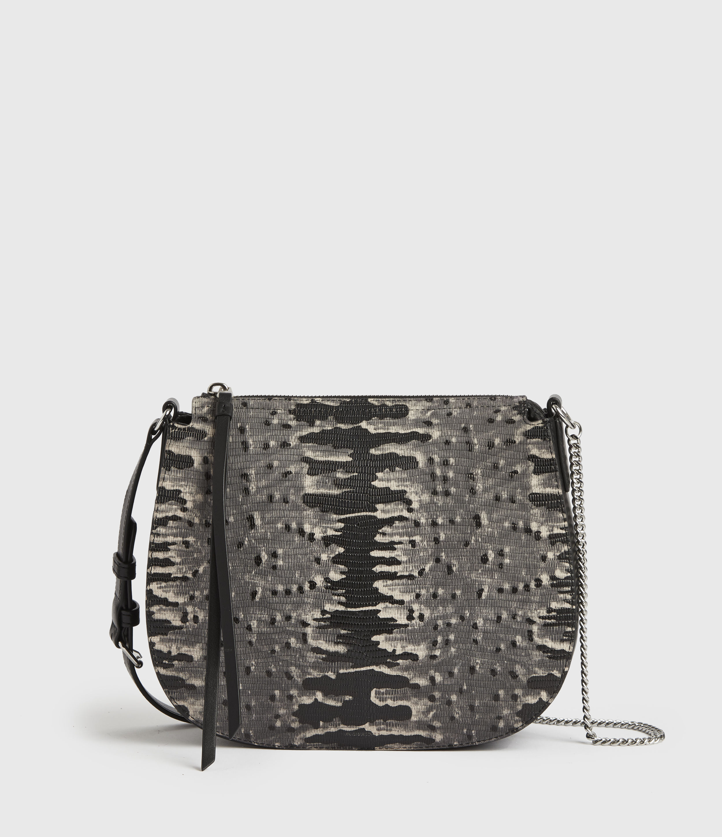 AllSaints Women's Leather Reptile Print Lightweight Elsworth Round Crossbody Bag, Grey and Black