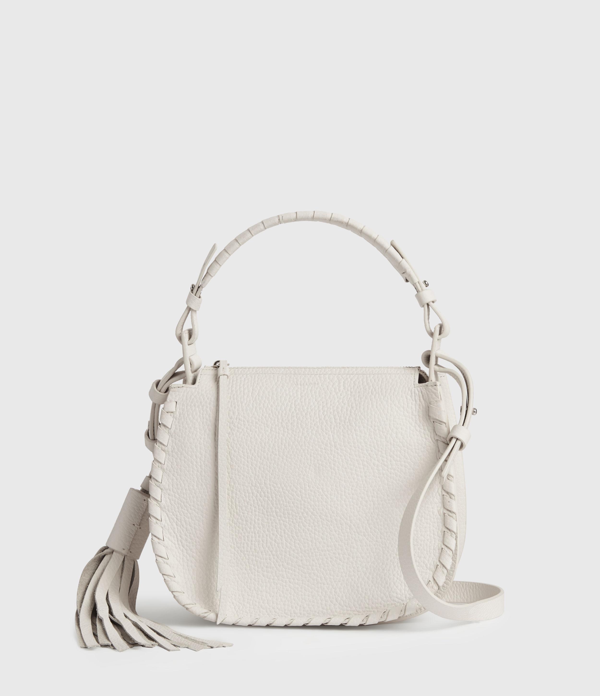 AllSaints Women's Lightweight Mori Lea Leather Crossbody Bag, White