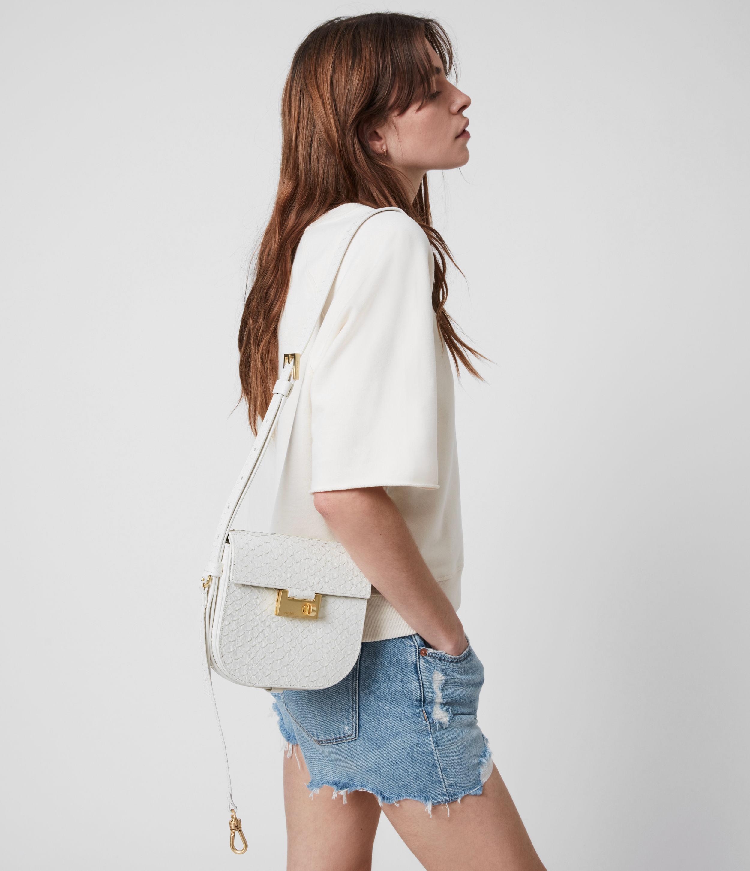 AllSaints Womens Ida Leather Python Crossbody Bag, ROE White