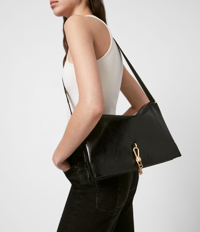 AllSaints Women's Sheringham Leather Shoulder Bag, Squid INK Blue