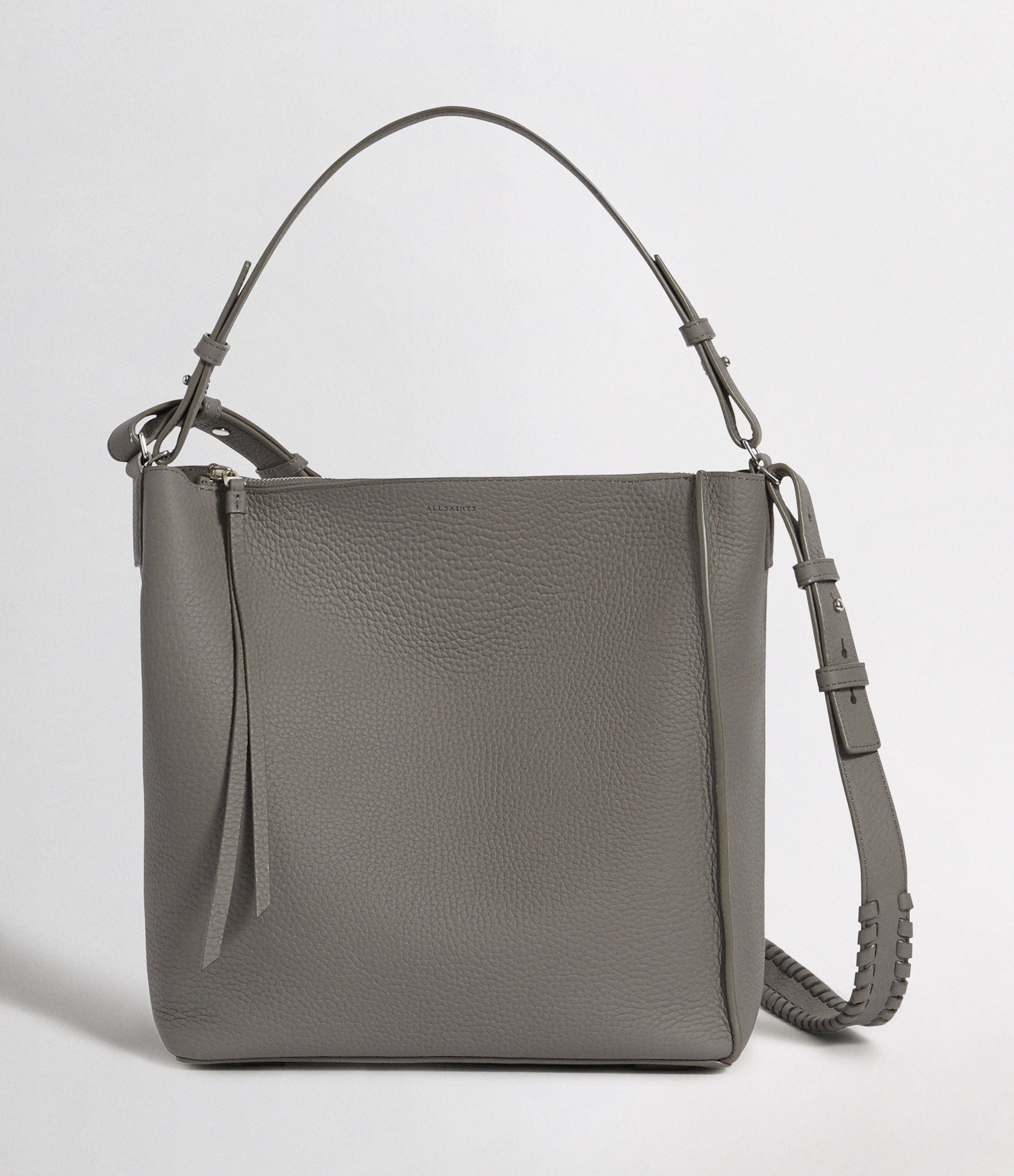 AllSaints Women's Leather Kita Crossbody Bag, Grey