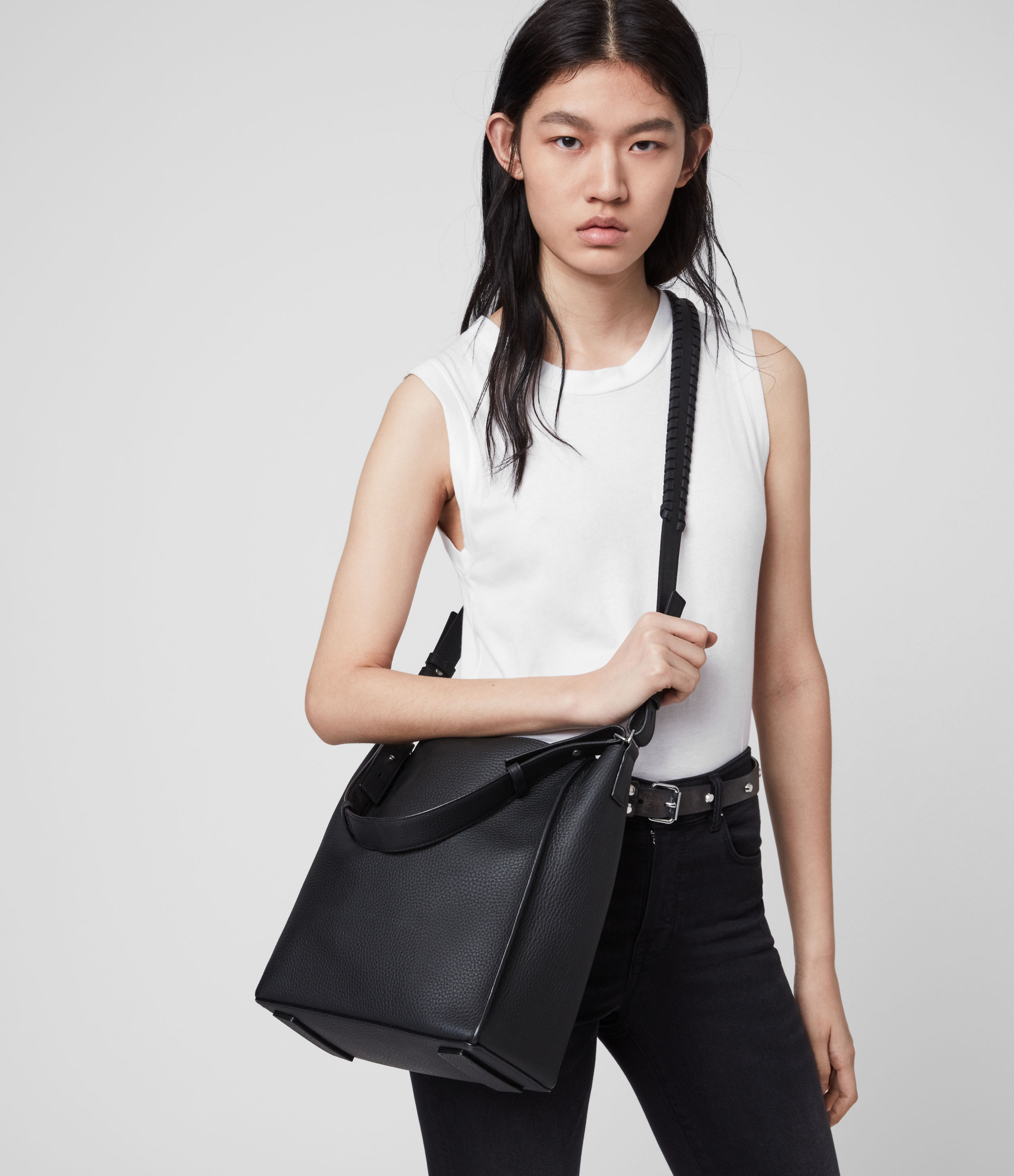 AllSaints Women's Leather Kita Crossbody Bag, Black