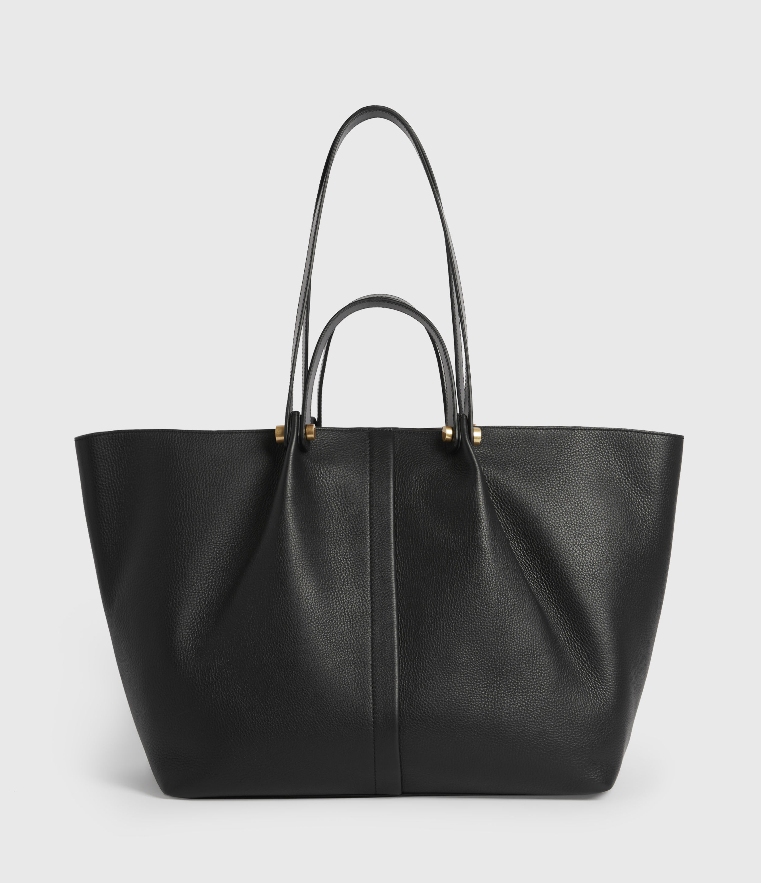 AllSaints Women's Leather Lightweight Allington East West Tote Bag, Black