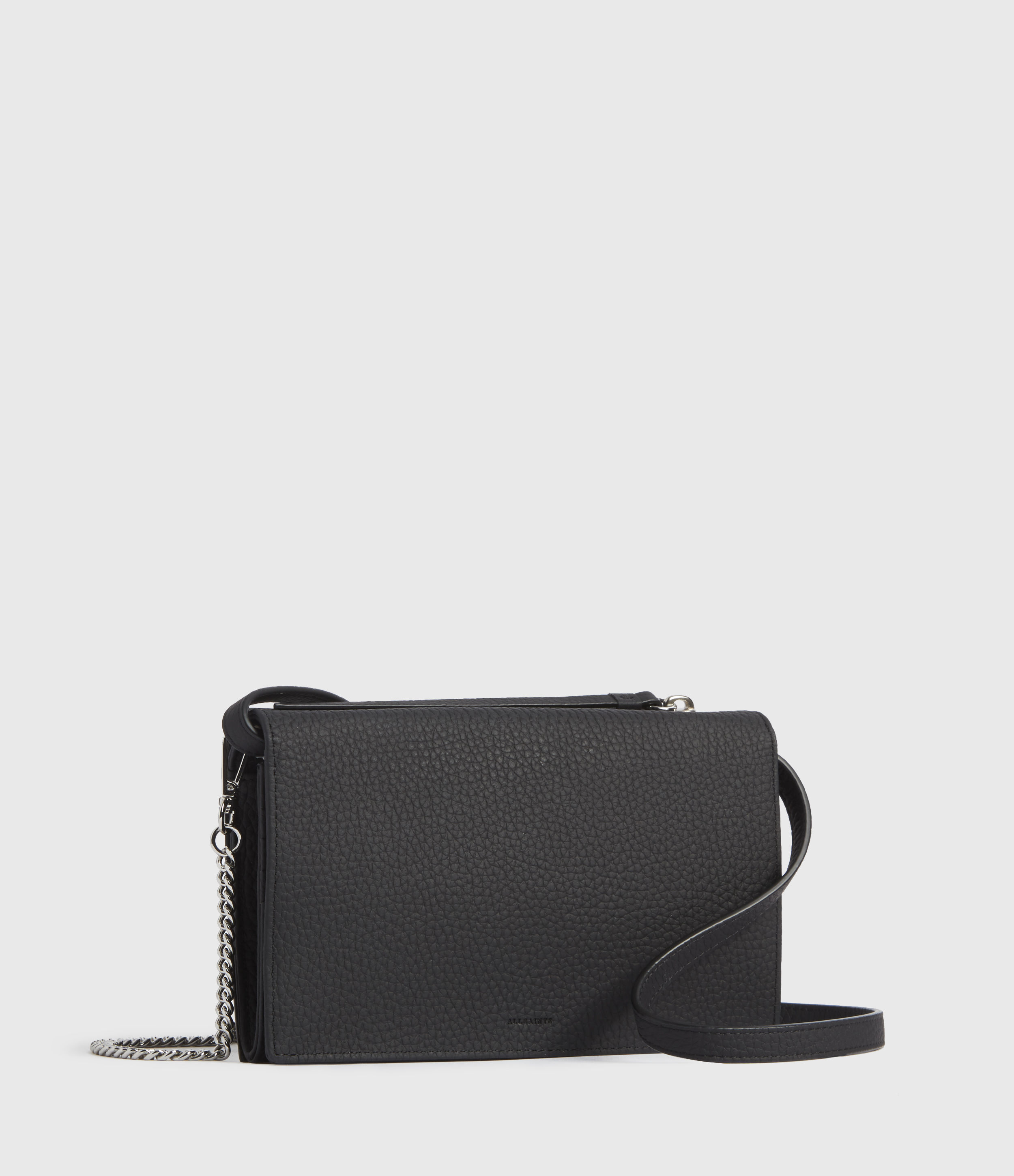 AllSaints Women's Leather Handmade Fetch Chain Crossbody Bag with Removable Straps, Black