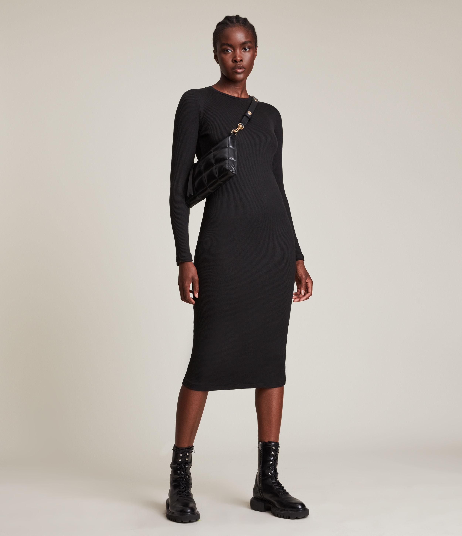 AllSaints Women's Molly Long Sleeve Dress, Black, Size: 10