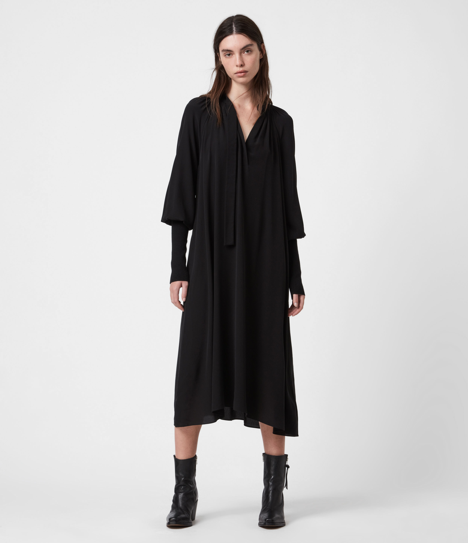 AllSaints Women's Serin Dress, Black, Size: 8
