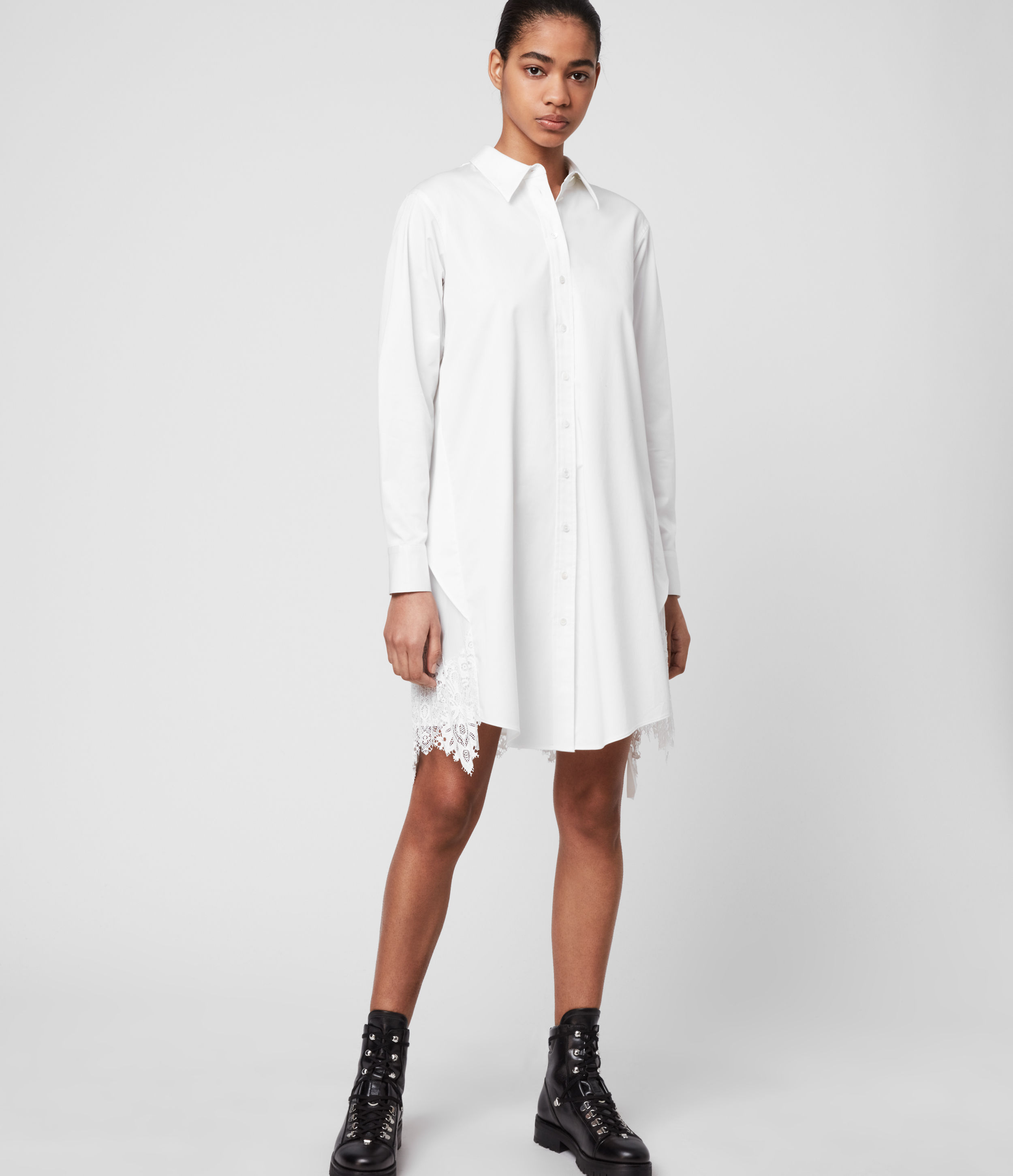 AllSaints Iris Lace Shirt Dress
