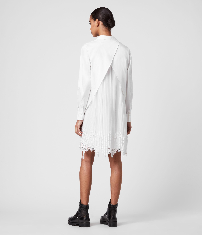 AllSaints Women's Cotton Relaxed Fit Iris Lace Shirt Dress, White, Size: S