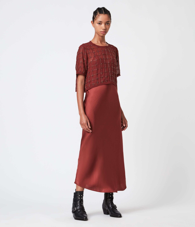 AllSaints Women's Reille Grid 2-In-1 Dress, Deep Cherry, Size: XS