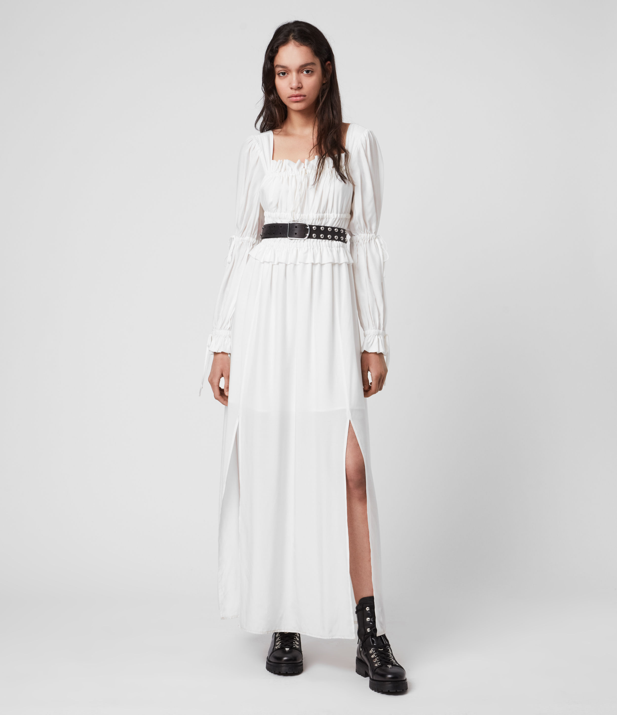 AllSaints Womens Kimi Silk Blend Dress, White, Size: 6