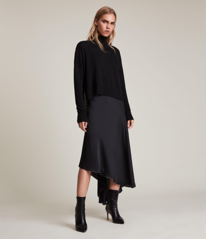 AllSaints Women's Lena 2-In-1 Dress, Black, Size: L