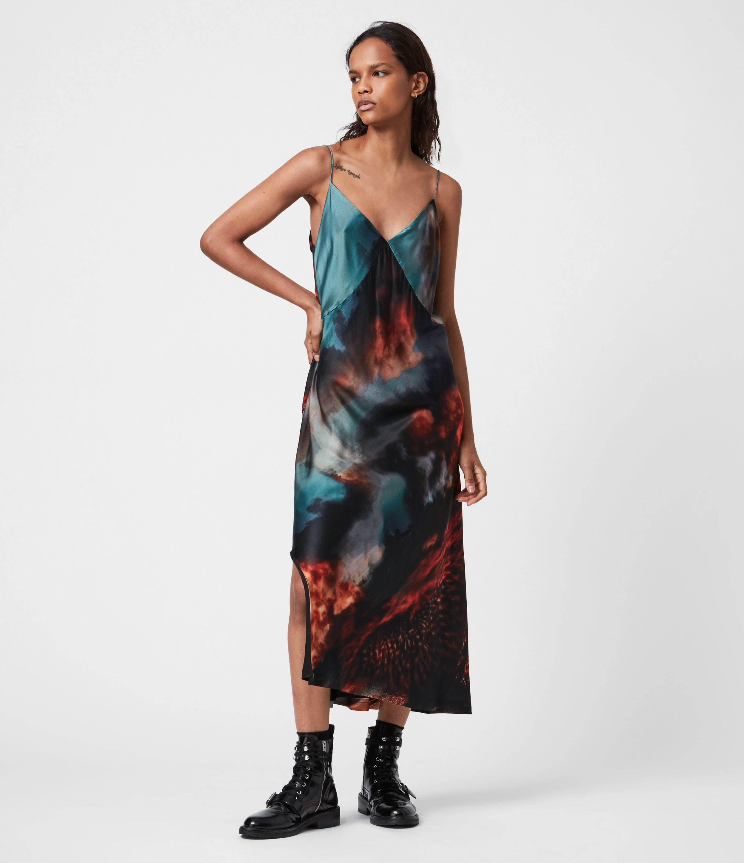 AllSaints Melody Epiphiany Silk Blend Dress, Dusk Red, Size: 10