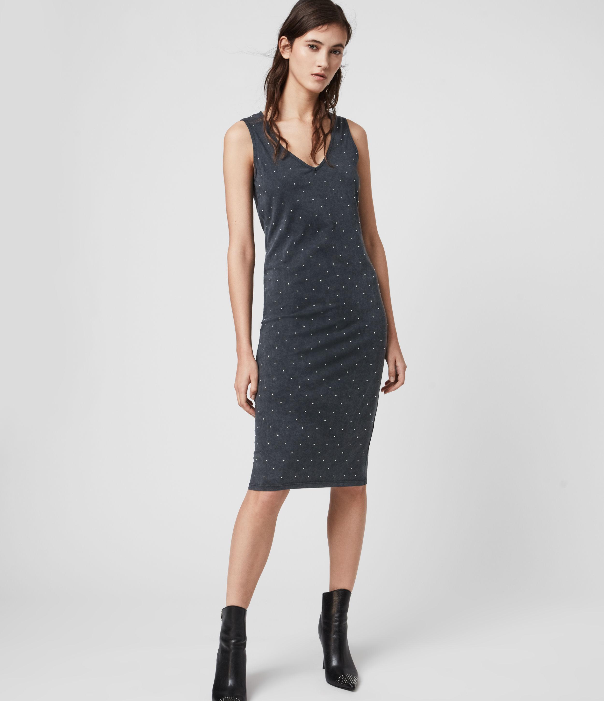 AllSaints Womens Leigh Stud Dress, Black, Size: 6