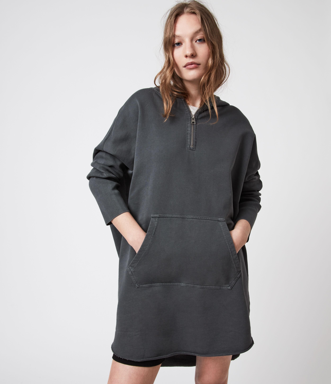 AllSaints Womens Xonda Hoodie Dress, Acid Washed Blue, Size: L
