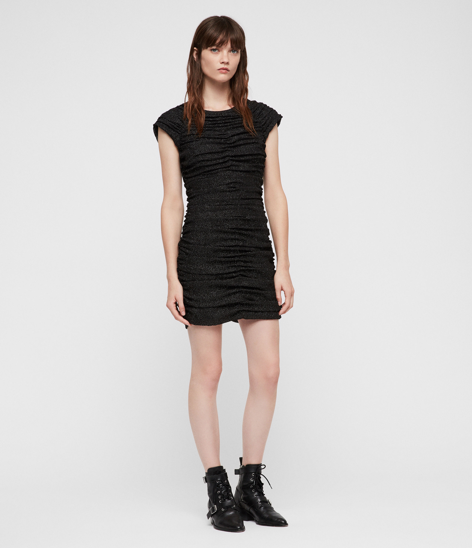 AllSaints Women's Riff Dress, Black, Size: UK 2