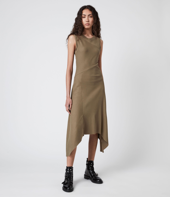 AllSaints Women's Gia Dress, Khaki Green, Size: 6