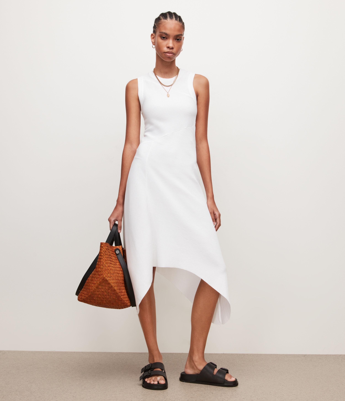 AllSaints Womens Gia Dress, Optic White, Size: 12