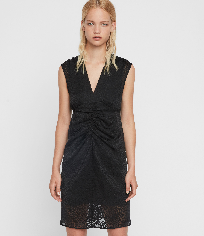 AllSaints Women's Leopard Print Slim Fit Aldine Dress, Black, Size: 14
