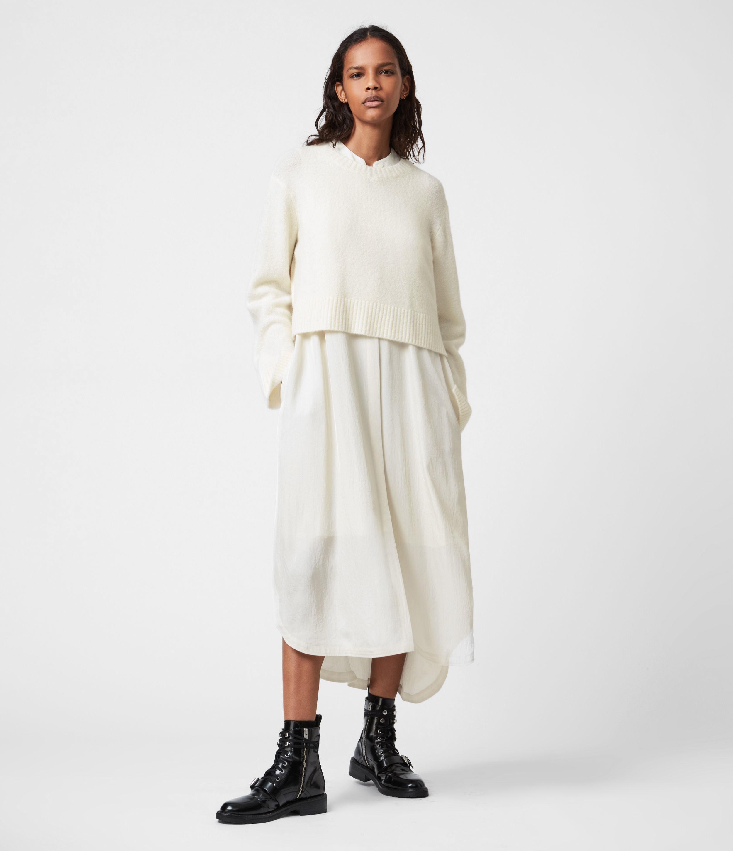 AllSaints Women's Angelina 2-In-1 Dress, White, Size: S