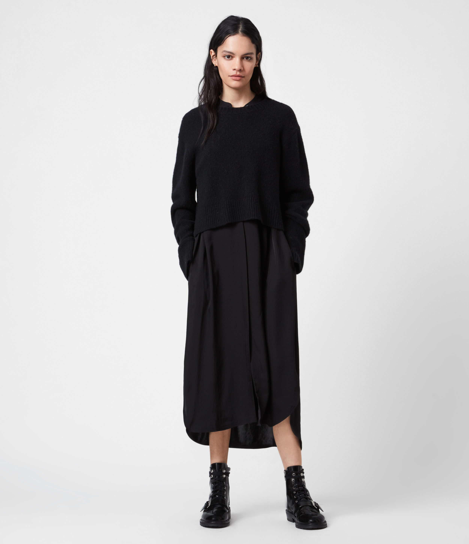 AllSaints Angelina 2-In-1 Dress, Black, Size: XS
