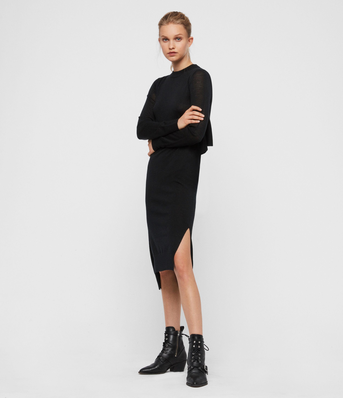 AllSaints Women's Wool Slim Fit Flora Dress, Black, Size: S
