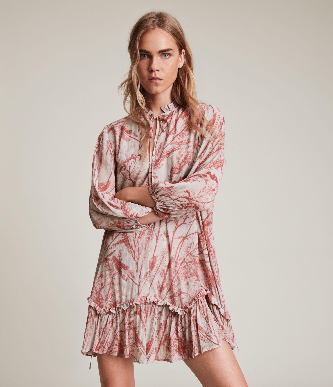 AllSaints Women's Arieta Grasmere Dress, Pink/White, Size: 12