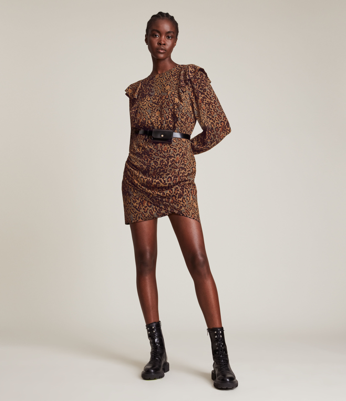 AllSaints Women's Elodie Halftone Dress, Spiced Honey Brown, Size: 10
