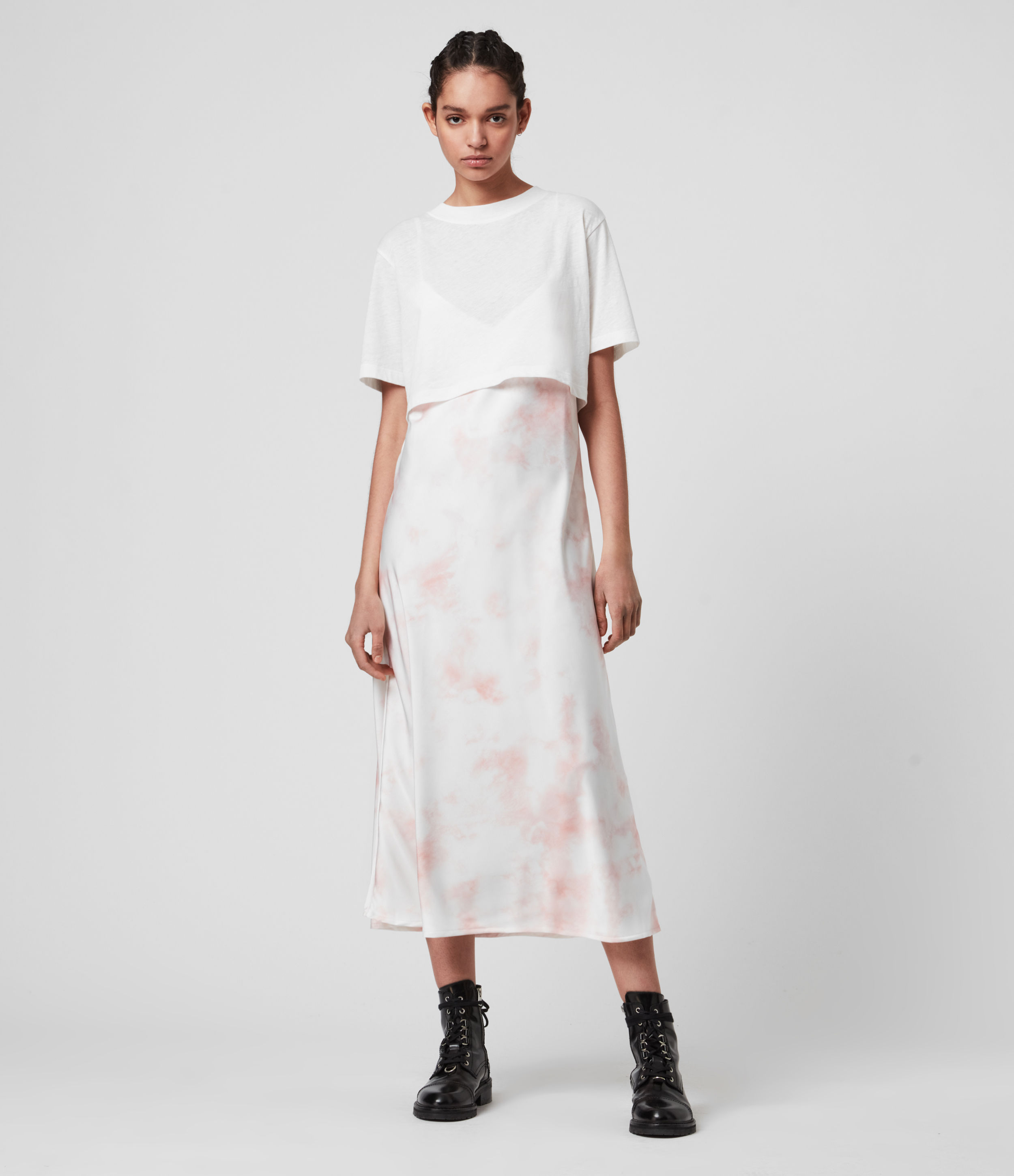 AllSaints Women's Cotton Benno Dye 2-in-1 T-Shirt Dress, White and Pink, Size: XS