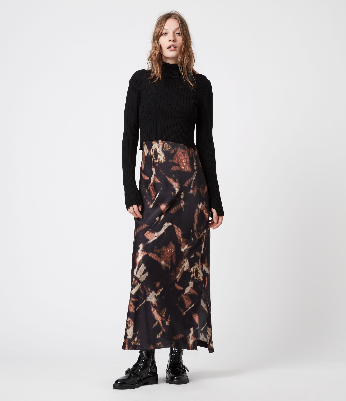 AllSaints Women's Sigourney 2-In-1 Tie Dye Dress, Black, Size: S