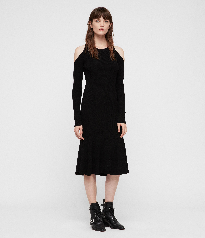 AllSaints Womens Yasmin Dress, Black, Size: M