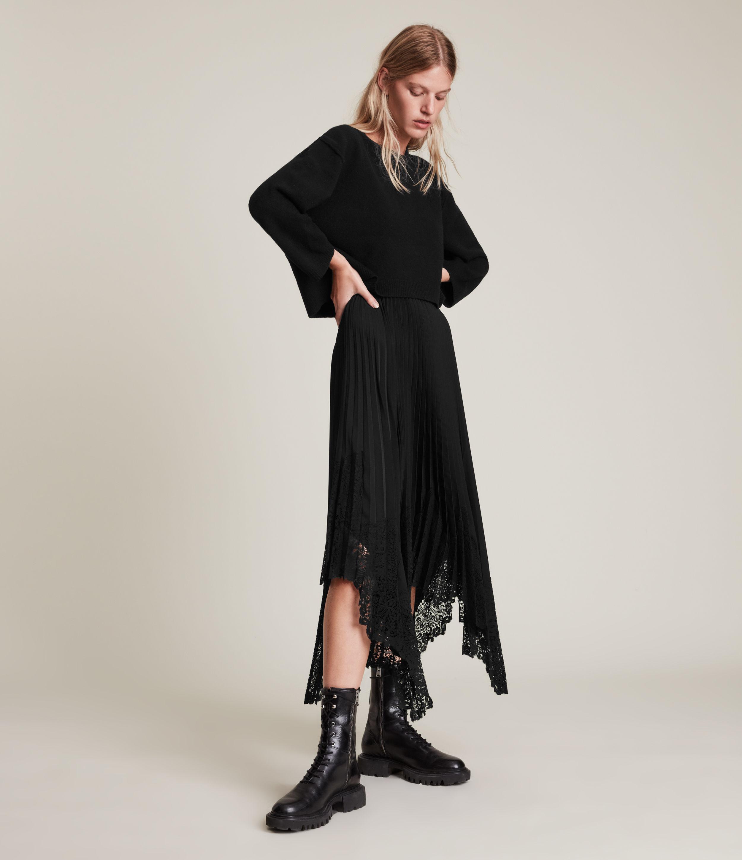 AllSaints Women's Aspyn 2-In-1 Dress, Black, Size: M