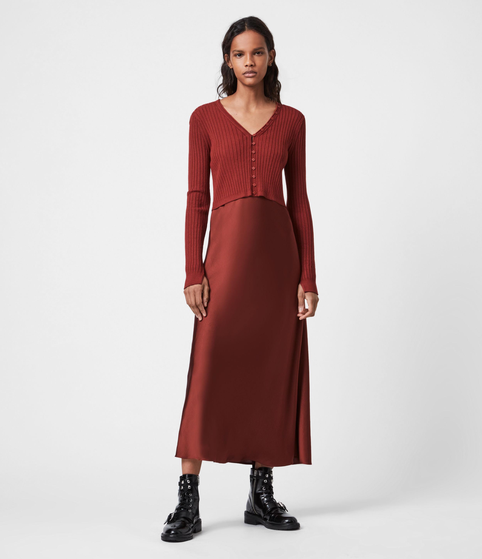 AllSaints Women's Slim Fit Ondra 2-In-1 Dress, Brown, Size: XS