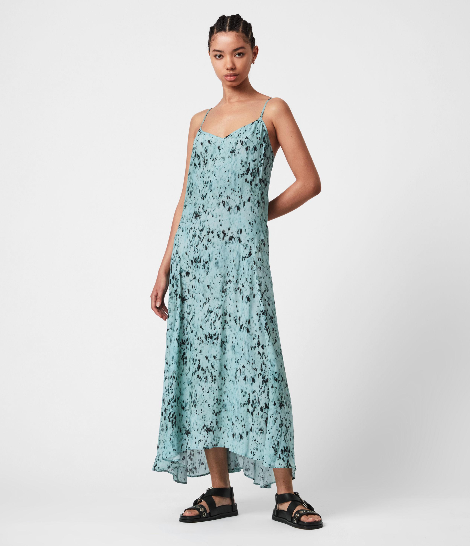 AllSaints Womens Eli Yermo Dress, Denim Blue, Size: 14