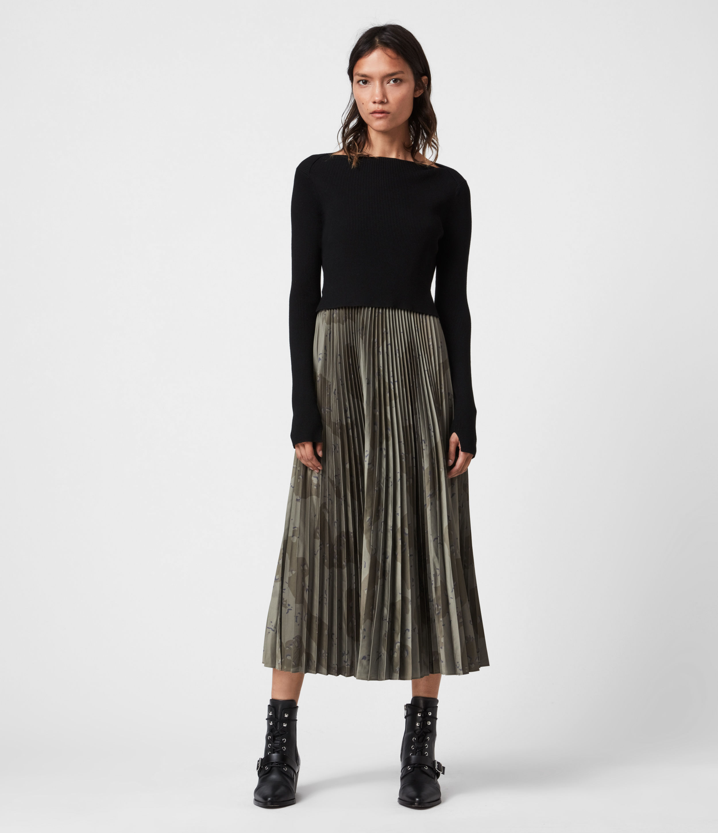 AllSaints Lera Acoustic 2-In-1 Dress