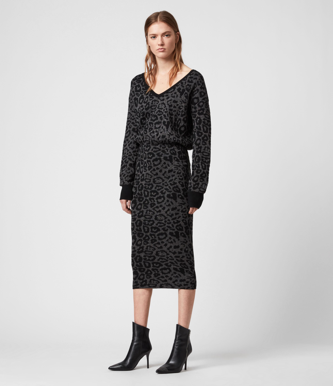 AllSaints Women's Leopard Print Regular Fit Roxanne Dress, Grey and Black, Size: M
