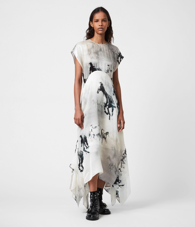 AllSaints Womens Gianna Epoto Silk Blend Dress, Cream and Black, Size: 12
