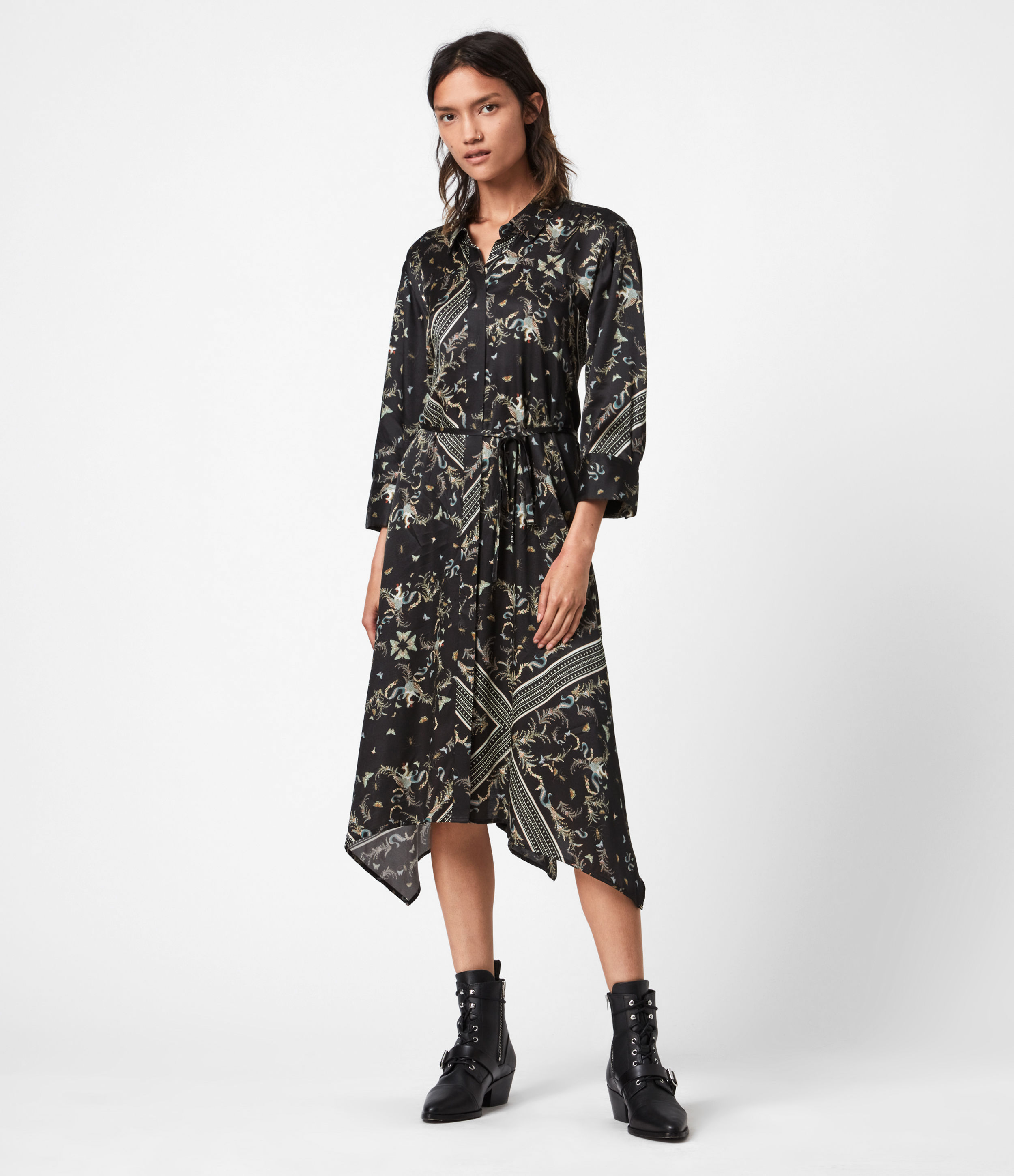 AllSaints Maia Assam Silk Blend Dress