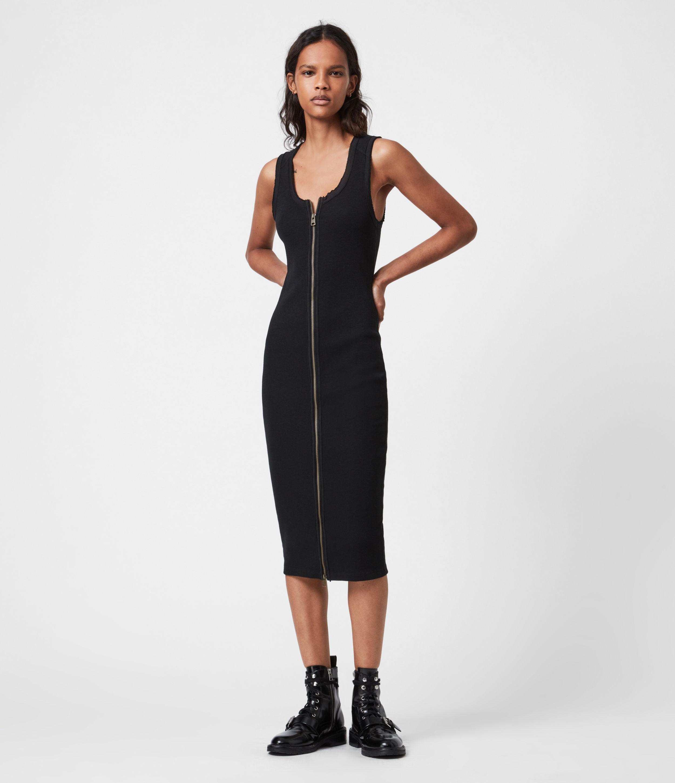 AllSaints Womens Alicia Dress, Black, Size: 8