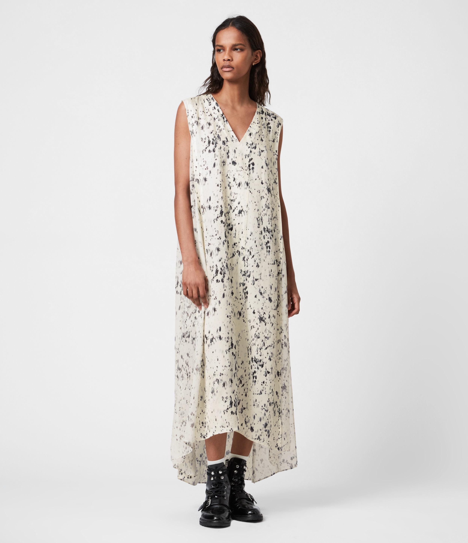 AllSaints Womens Karian Yermo Dress, Cream and Black, Size: 4