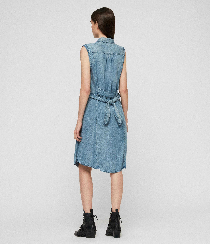 AllSaints Womens Francis Denim Dress, Indigo Blue, Size: L