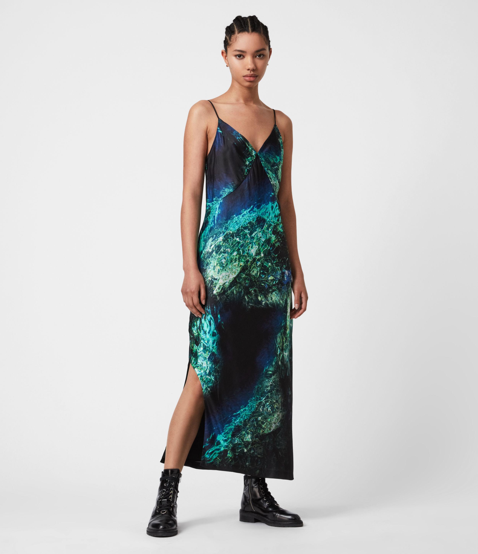 AllSaints Womens Melody Springs Silk Blend Dress, Emerald Green, Size: 10