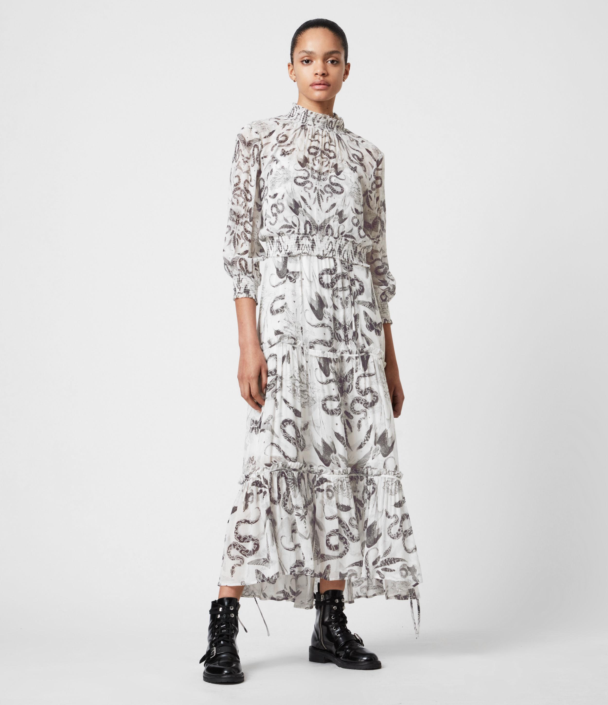 AllSaints Women's Taya 2-In-1 Somnium Dress, White and Grey, Size: 10