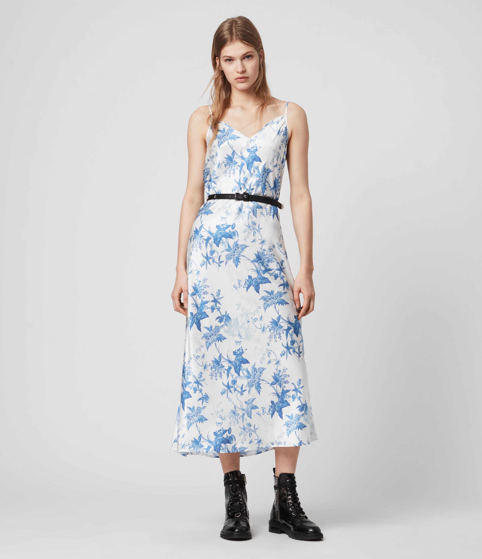 AllSaints Tierney Silk Blend Evolution Slip Dress