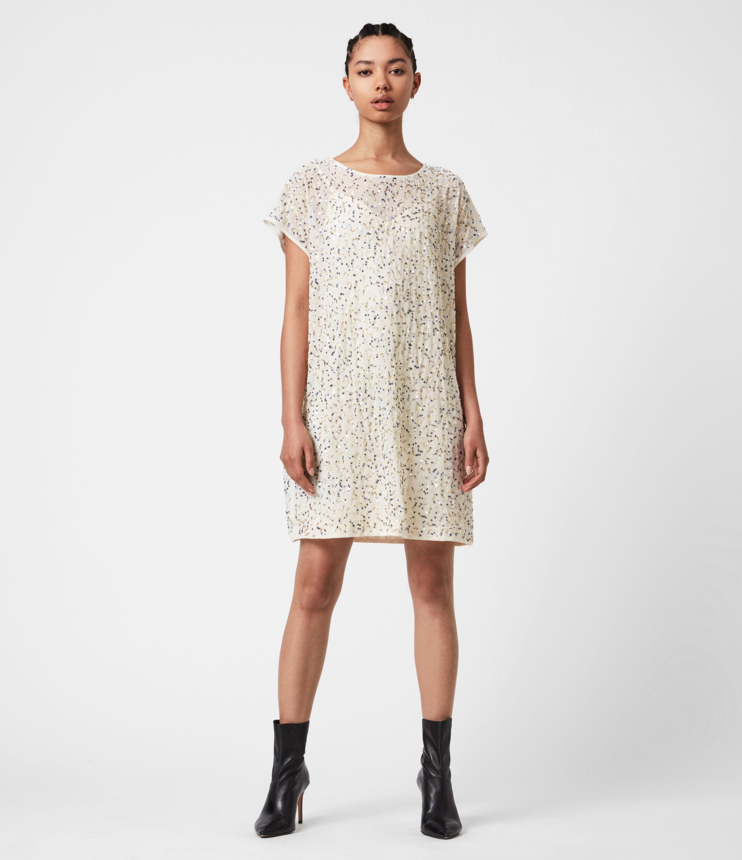AllSaints Womens Loren Embellished Dress, Pearl Gold, Size: 10