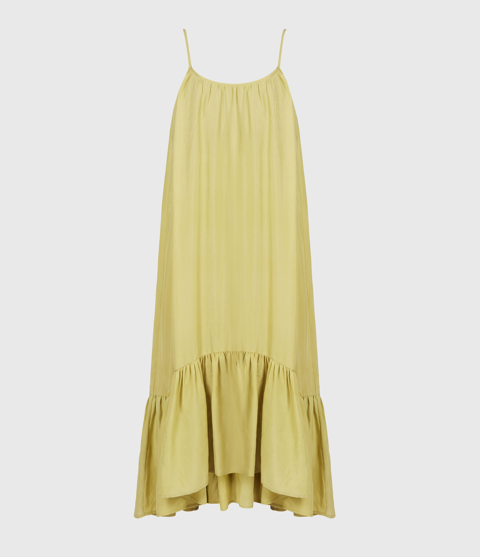 AllSaints Womens Paola Silk Dress, Garden Olive, Size: 12