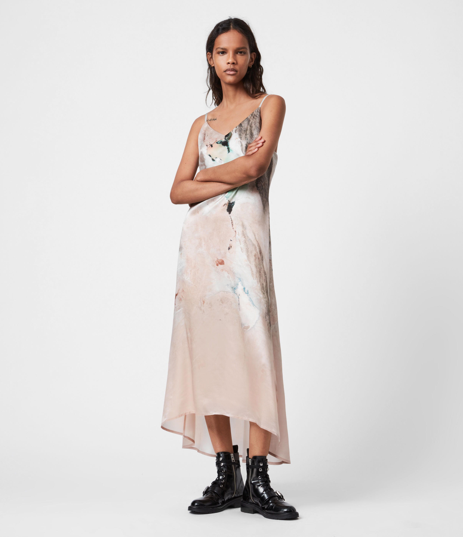 AllSaints Women's Essey Cassus Silk Blend Dress, Plaster Pink, Size: 8