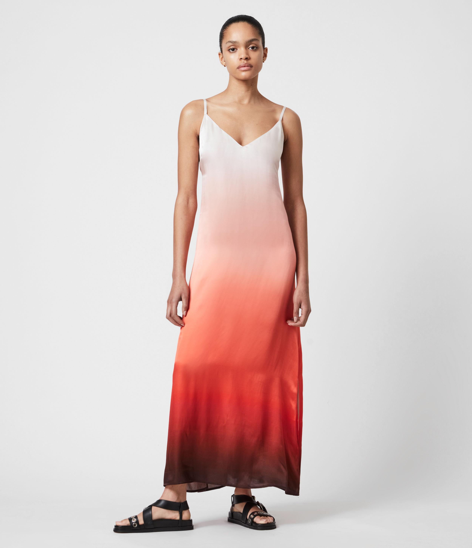 AllSaints Womens Vinia Ombre Silk Blend Dress, Red, Size: 10