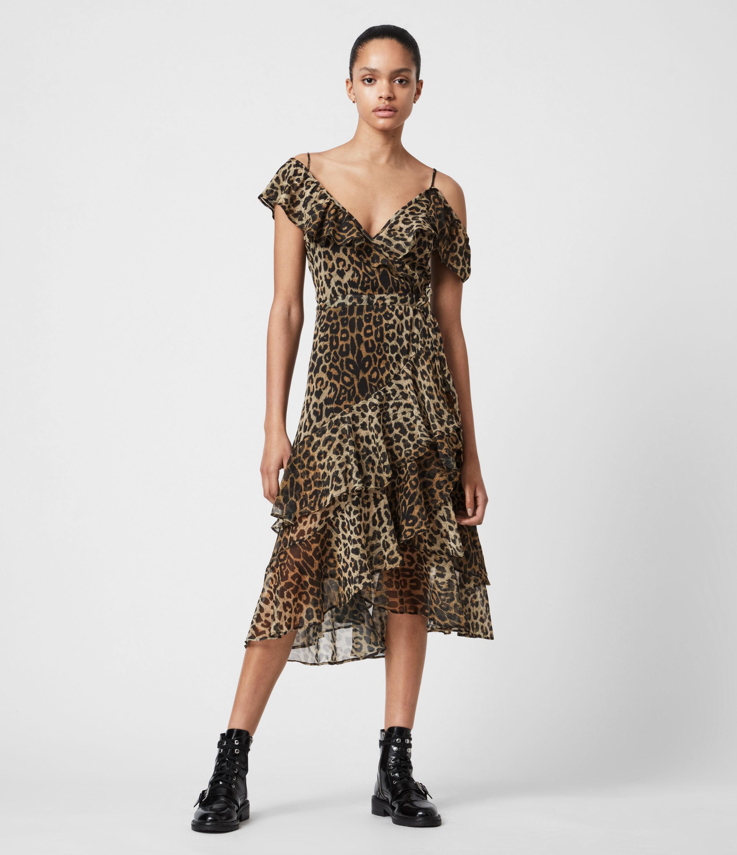 AllSaints Womens Kari Leppo Dress, Leopard Yellow, Size: 4