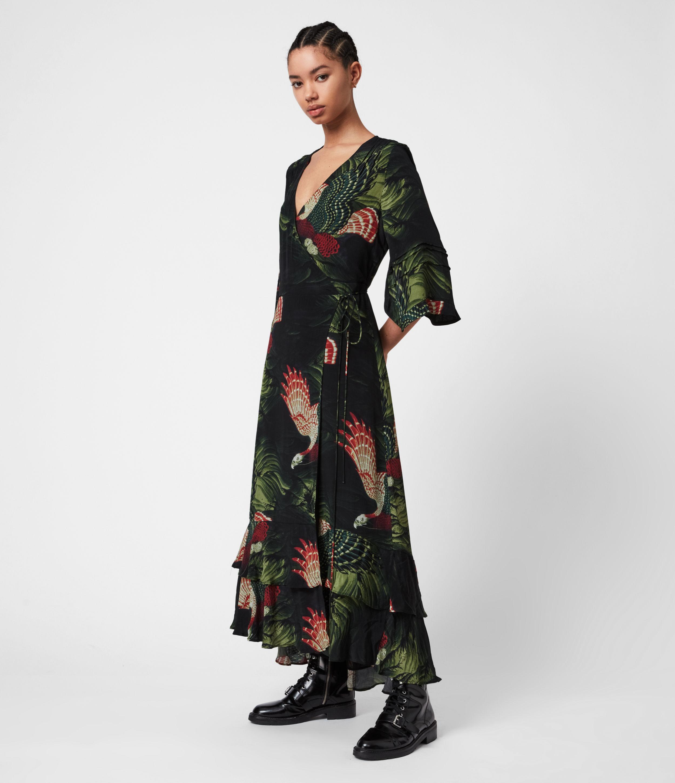 AllSaints Womens Delana Swoop Dress, Moss Green, Size: 6